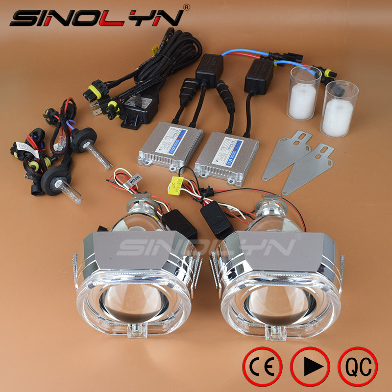 SINOLYN Car Styling 2.5'' Square LED Angel Devil Eyes DRL HID Bi-xenon Projector Lens Headlight Retrofit Kit H4 H7 4300K 6000K royalin car styling hid h1 bi xenon headlight projector lens 3 0 inch full metal w 360 devil eyes red blue for h4 h7 auto light