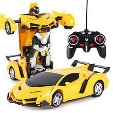 лучшая цена New Rc Transformer 2 In 1 Rc Car Driving Sports Cars Drive Transformation Robots Models Remote Control Car Rc Fighting Toy Gift
