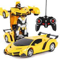 Nouveau Rc transformateur 2 en 1 Rc voiture conduite voitures de sport conduire Transformation Robots modèles télécommande voiture Rc combat jouet cadeau