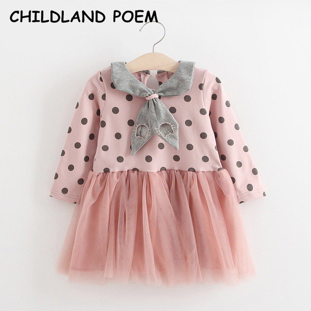 d4aa5d3425b 2017 spring baby girl dress princess 1 year birthday dress long sleeve toddler  baby girls party