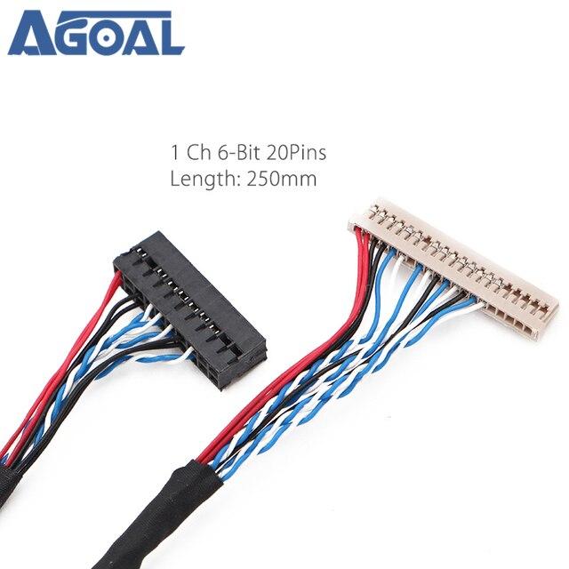 Uniwersalny 1ch 6 bit 20 szpilki kabel LVDS 20pin pojedynczy 6 6 bit dla 12 cal 15 cal panel LCD