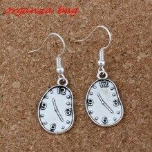 Melting Clock Earrings Silver Fish Ear Hook 20pairs/lot Antique Chandelier Jewelry 13x39mm A-203e