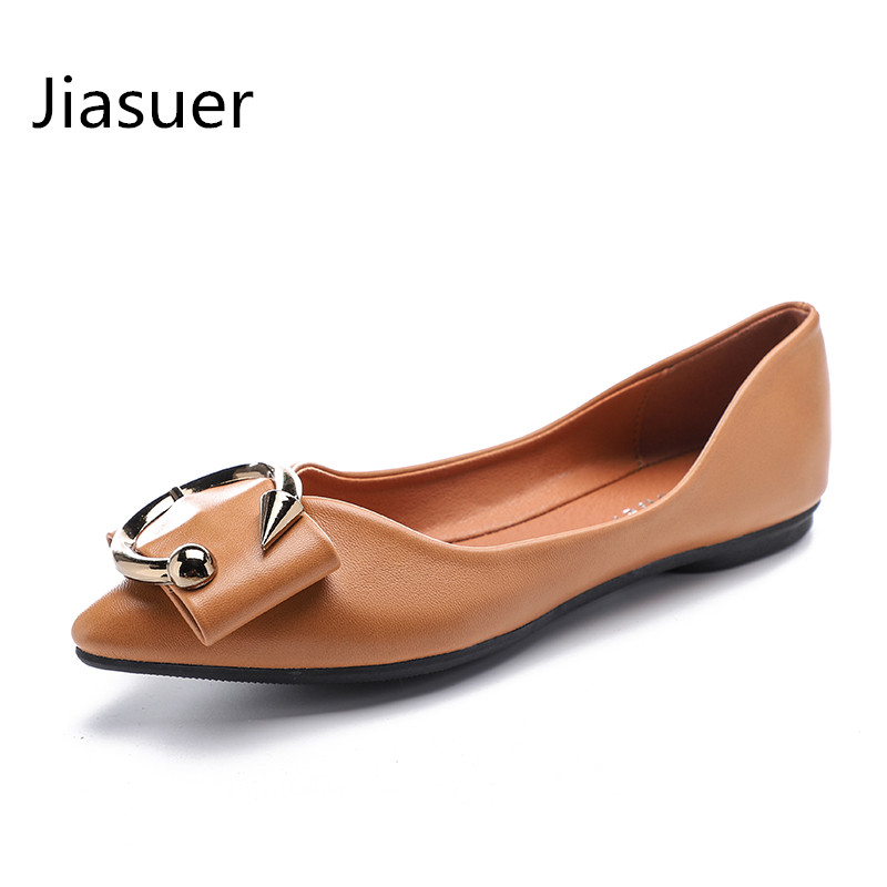 Jiasuer Big lats Shoes Slip-On Casual Loafers Shoes Women Pointed Toe Buckle Plus Size 35-41 Zapatos Mujer Sapato Feminino aphixta loafers women flats heel shoes warm fur winter round toe female ladies casual slip on zapatos de mujer shoes plus size