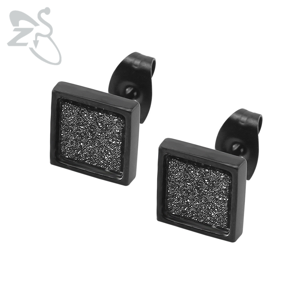 Square Mens Earrings Black Earrings For Women Stainless Steel Squar Fashion Jewelry Geometric Punk Gold Silver Earrings Ohrringe
