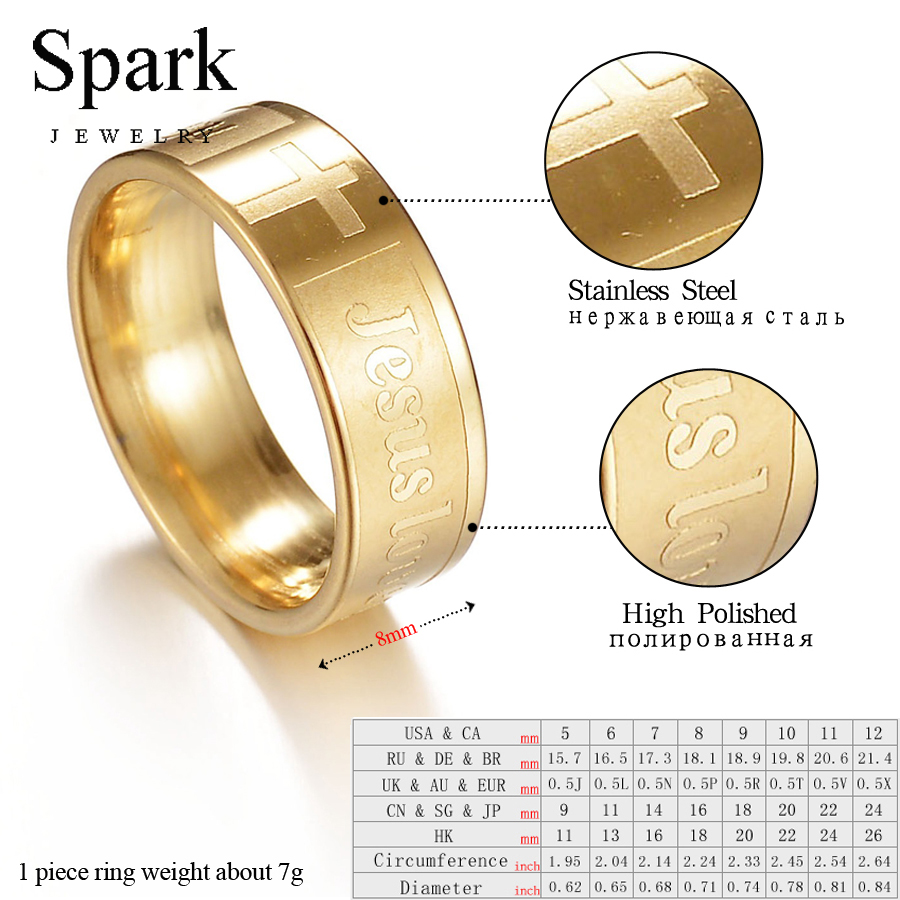SPARK Christmas Cross Rings Men Fashion Charm Party Ring 316L Stainless Steel Anniversary Fingher Jewelry Jesus Love You Gifts