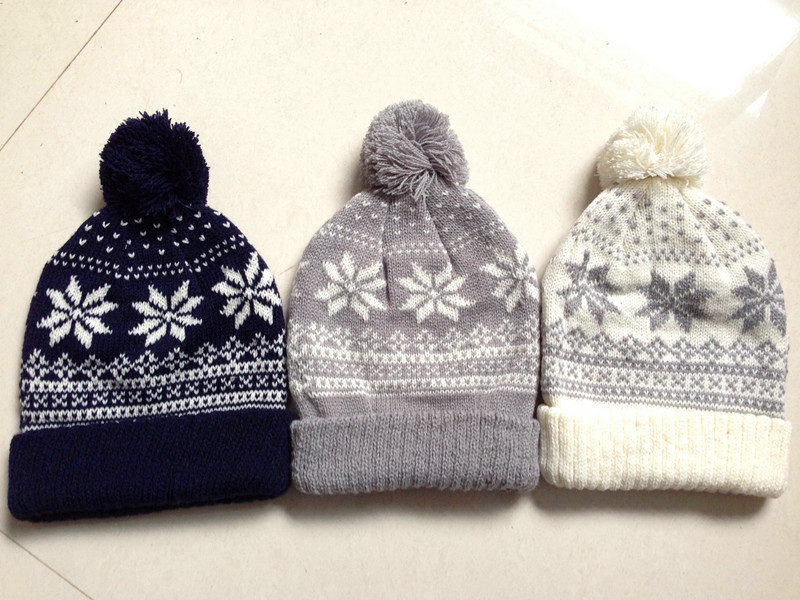 2 6years Childrens Knitted Hats Boys Girls Winter Beanie With Pom