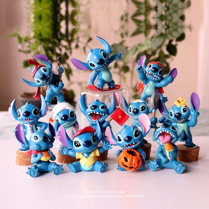 Disney Lilo & Stitch 6pcs/set 5.5-7.5cm Action Figure Posture Anime Decoration Collection Figurine Toy model for children gift 15 5cm anime figure lilo