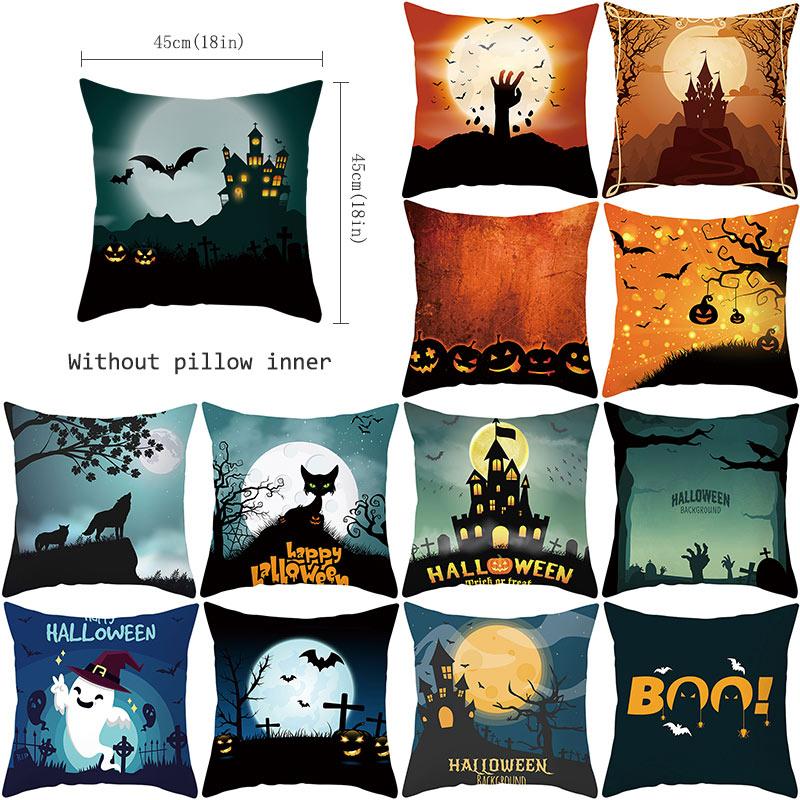 YWZN Trick Or Treat Halloween Throw Pillow Case Halloween Creative Decorative Pillowcase Halloween Demon Printing Pillow Case
