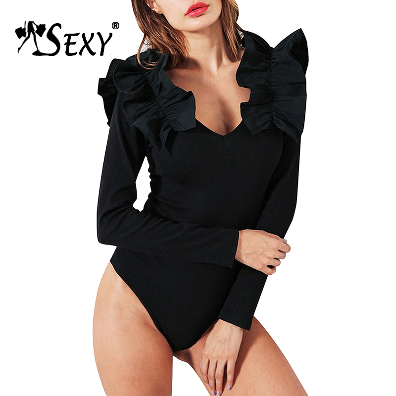 Gosexy 2017 New Women Blouses Sexy Deep V Autumn Women Bandage Bodysuits Skinny Lady Romper Full Sleeve Solid Club Jumpsuits