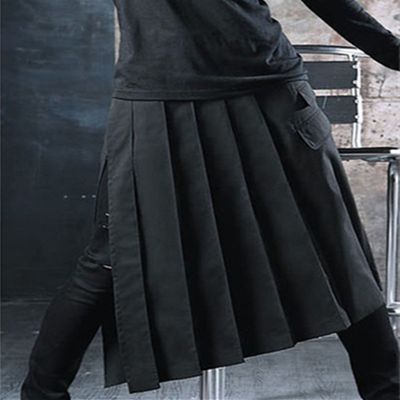 Pants Trousers Skirt Gothic-Style Pleated Singer Punk-Rock Casual Hip-Hop DJ Harajuku