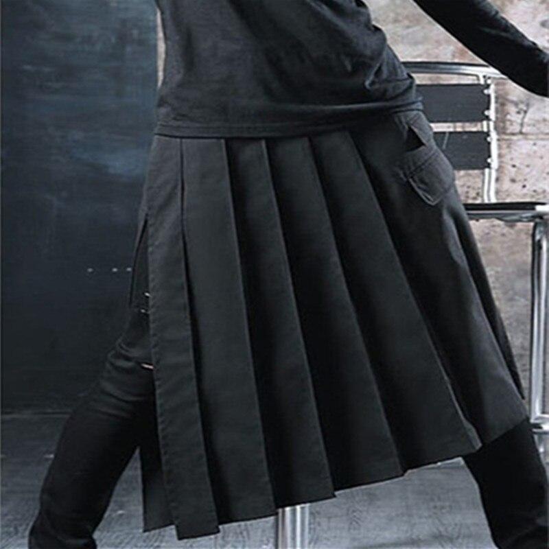 Nachtclub Dj Zanger Punk Rock Hip Hop Rok Broek Geplooide Onregelmatige Ontwerp Schort Mannen Harajuku Casual Gothic Stijl Broek Beroemd Voor Geselecteerde Materialen, Nieuwe Ontwerpen, Prachtige Kleuren En Prachtige Afwerking