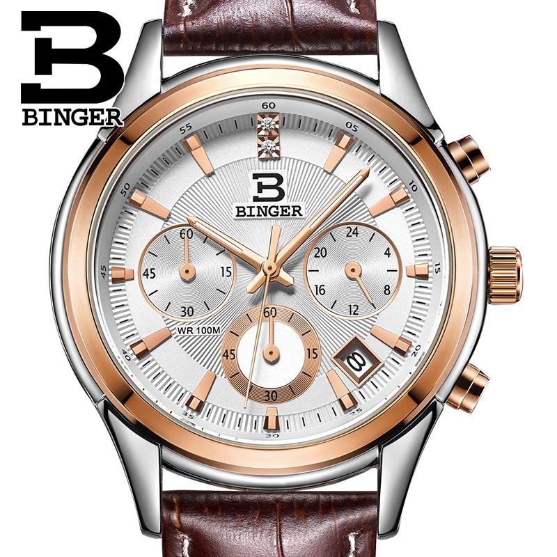Switzerland BINGER Mens Watch Luxury Brand Quartz Waterproof Genuine Leather Strap Auto Date Chronograph Men Watches BG6019-M3Switzerland BINGER Mens Watch Luxury Brand Quartz Waterproof Genuine Leather Strap Auto Date Chronograph Men Watches BG6019-M3