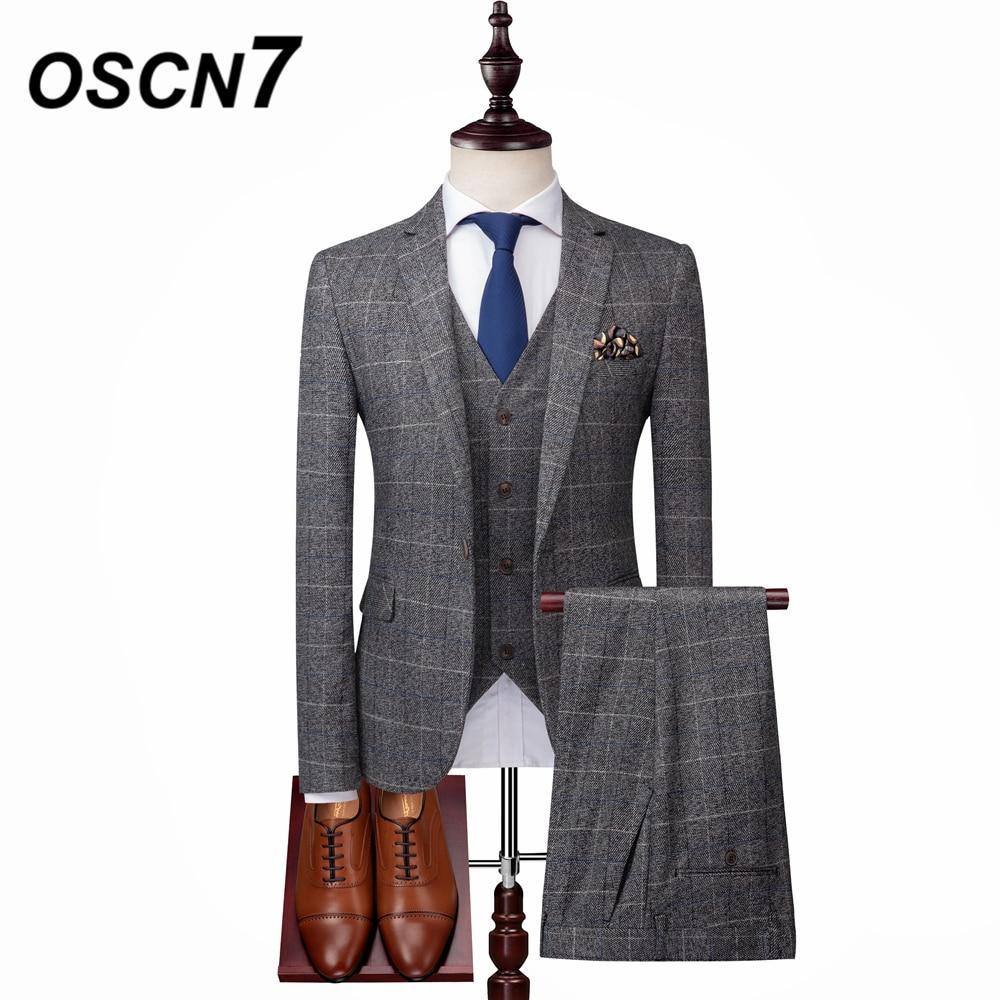 Bright Oscn7 Grey Plaid 3pcs Suit Men Plus Size Casual Business Dress Mens Suits Slim Fit Fashion Tuxedo Xz02 Attractive And Durable