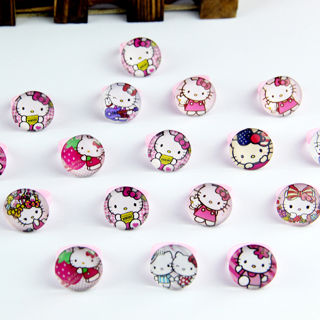 50pcs lovely animation cartoon childrenkids cartoon heart shaped hello kitty kt cat acrylic lucite resin rings free shipping
