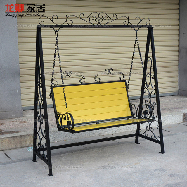 Double Outdoor Swing Rocking Chair Wrought Iron Hanging Basket