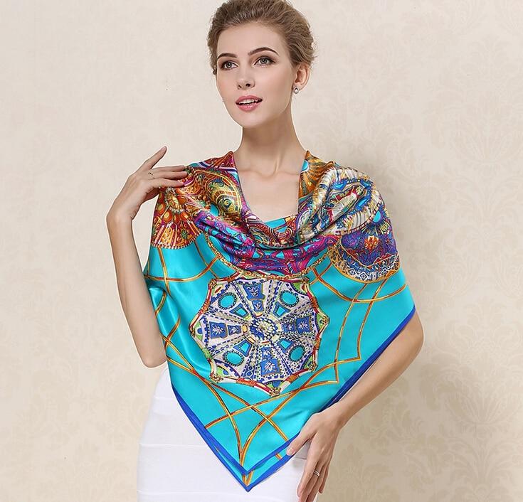 2017 vrouwen merk fashion100% zijden sjaal groot vierkant 100 * 110cm - Kledingaccessoires
