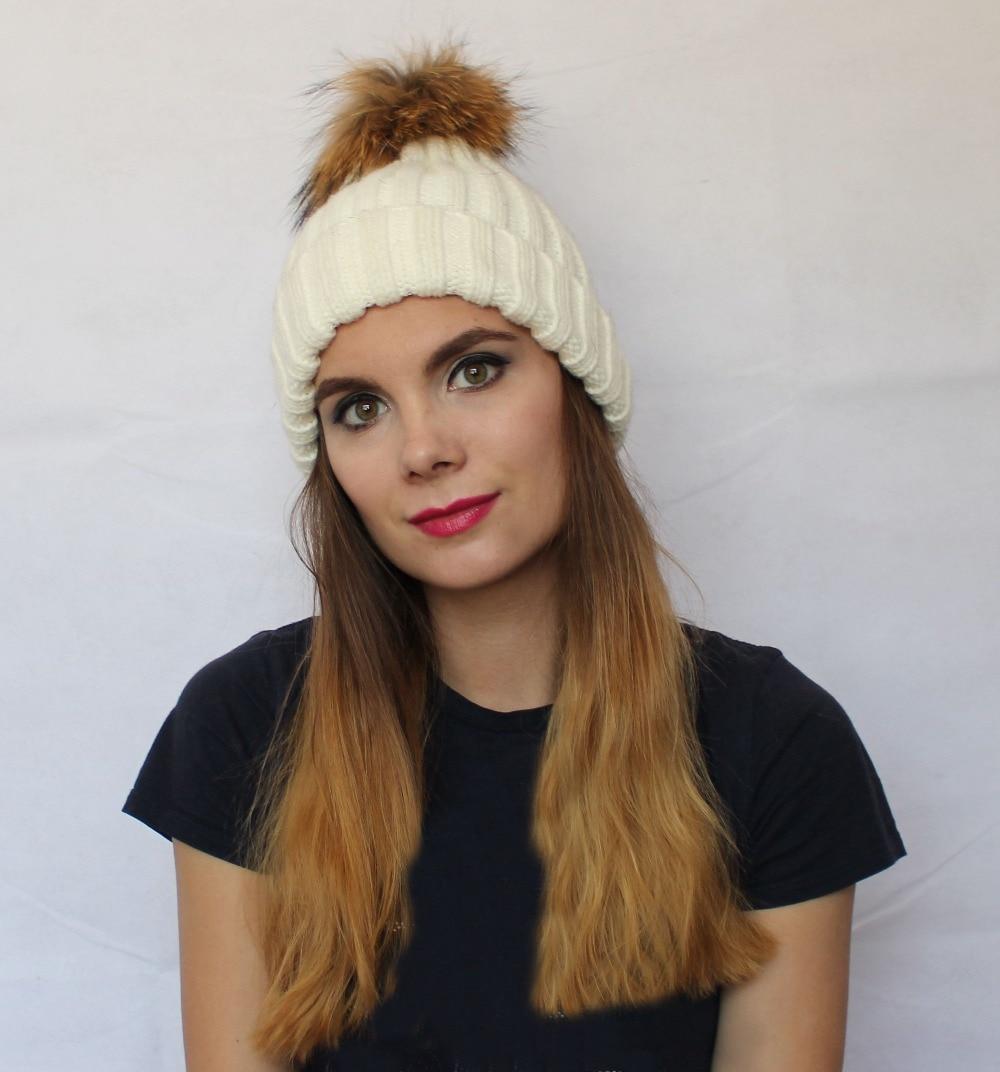 Linhaoshengyue Unisex Fashion warm hat knitted fox fur ball