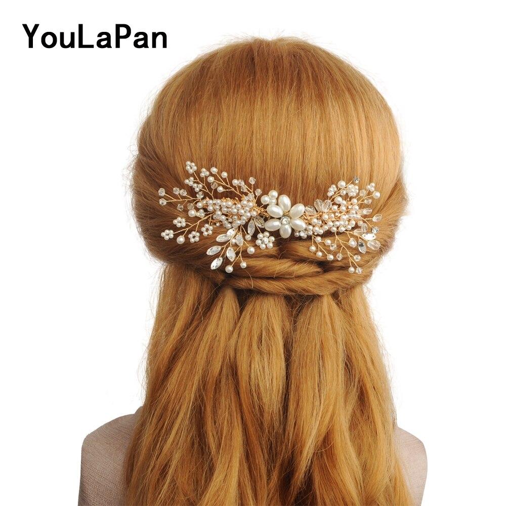 YouLaPan HP143 Elegant Wedding Hair Comb For Bride Rhinestone Pearls Women Hair Pins Bridal Headpieces Hair Jewelry Accessories