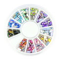 New arrival! 12 Mixed Colors Wheel Design 3D Nail Art Tip Charm Rhinestone Jewelry DIY Tools
