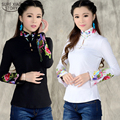 2016 new arrival Chinese Style Shirt Spring  Long Sleeve Shirt top blouse Support ethnic Black White embroidered Collar 585H 25