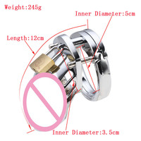 Size 50mm Male Chastity Stainless Steel Cock Small Cage Men Lock Chastity Belt Barbell Penis Ring Sex Products for Men