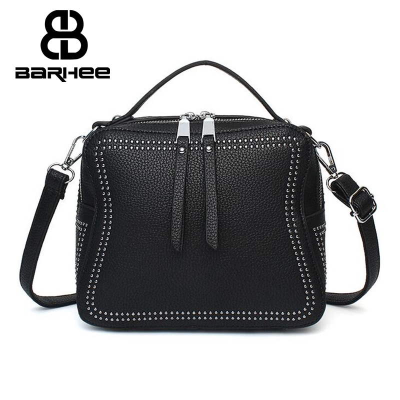 Hot 2017 New Female Crossbody Bag Leather Handbags Tote Women Messenger Bags Ladies Fashion Leather Portable Shoulder Bag Rivets new europe women s handbags shoulder bag ladies real leather messenger bag large capacity design fashion crossbody bags tote