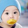 1 Unids Chupetes Para Bebés Divertido Pezón de Silicona de calidad Alimentaria, ABS, PP Labios Del Bebé Chupetes Chupete Infantil Pato Amarillo Boca Grande