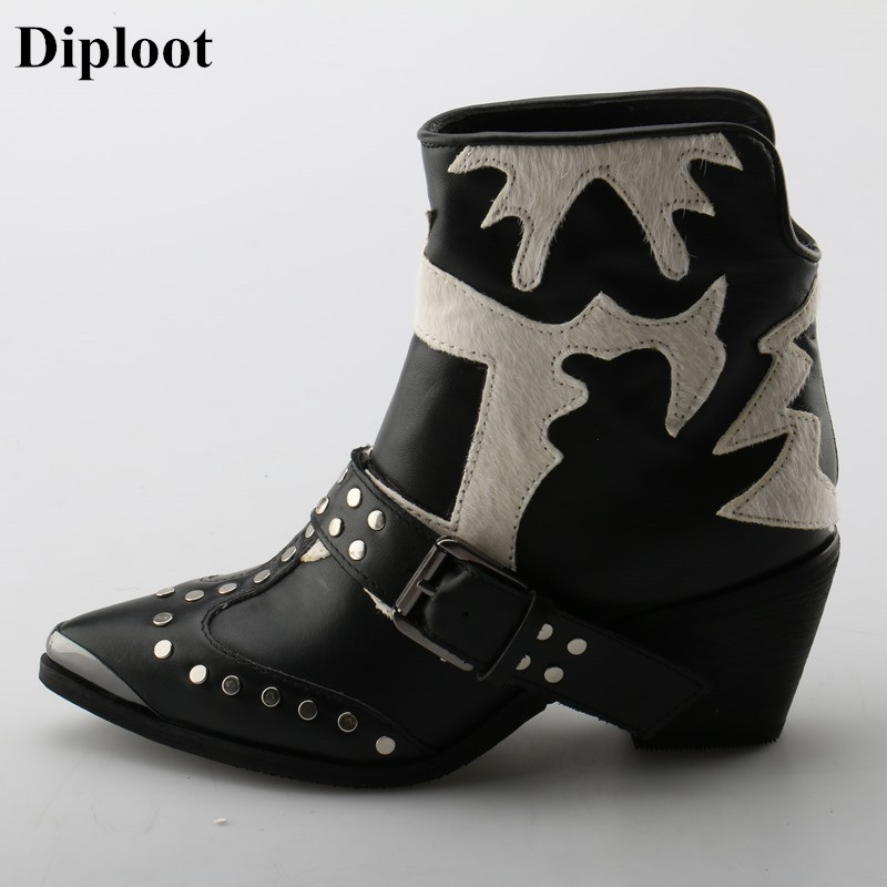 Dipsloot Woman Horsehair Patchwork Slip-on Ankle Boots Female Metal Pointed Toe Short Boots With Rivets Chunky Heels Dress Shoes