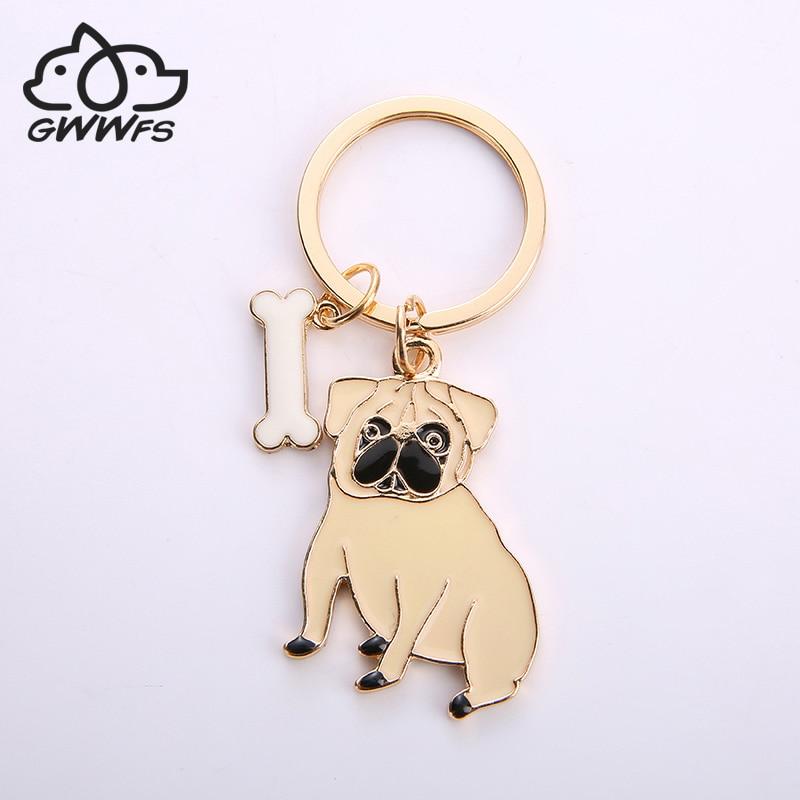 Alloy Pug Dog Key Chain Key Ring Bag HandBag Charm Keychain Accessories New Fashion Jewelry For Women Dog Lovers Gifts