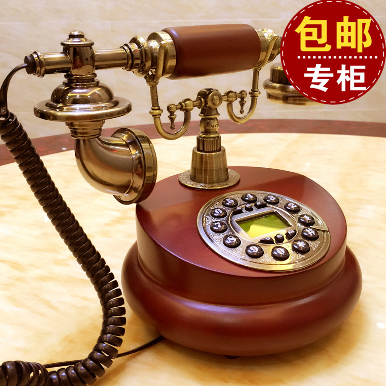 The wireless telephone card European antique American retro fashion home phone office Dong garden wood Decoration home Dial