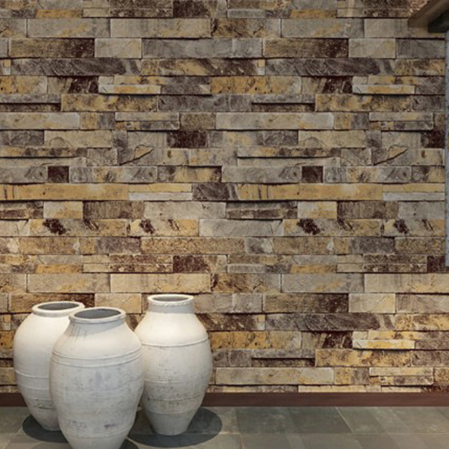 Retro Modern Stone Brick Print 3D PVC Wallpaper For Walls