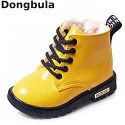 Зимние детские сапоги из искусственной кожи, непромокаемые ботинки martin, обувь для детей, зимние сапоги, брендовые резиновые сапоги для