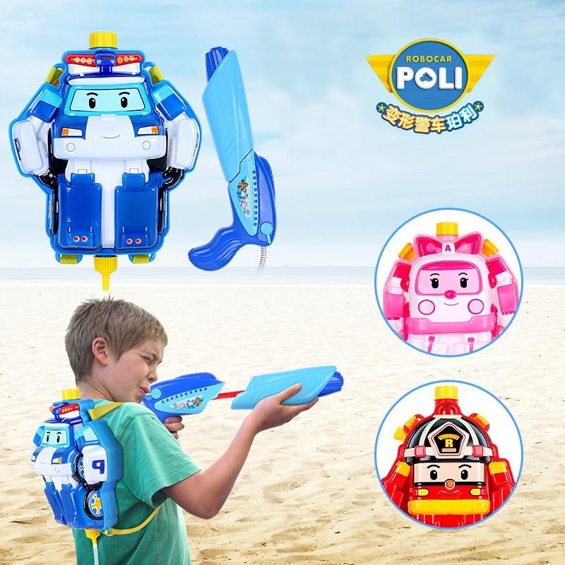 Hot Original robocar poli Big Water Gun kids toys backpack Outdoor Fun Sports Parent-child interactive game toys for children