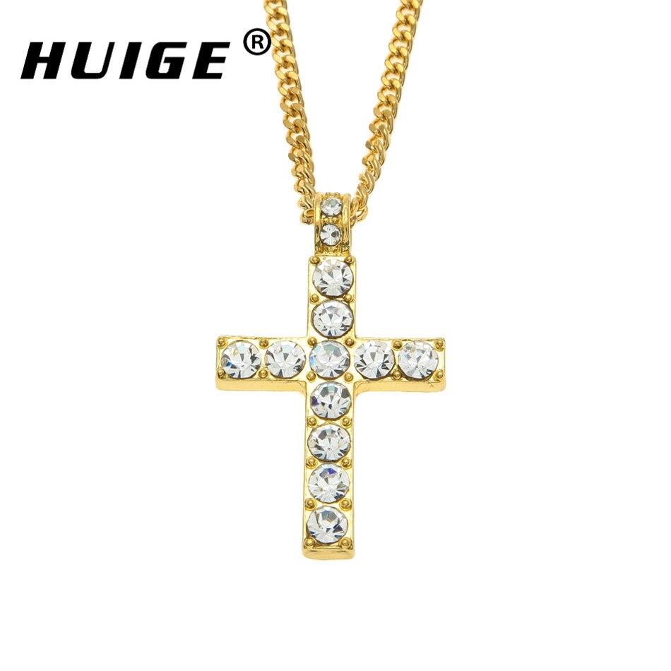 Hip Hop Alloy Gold Farbe Kreuz Anhänger Halskette Religiöse Iced Out Strass Crucfix Halskette Jewely Für Männer Freies Kubanischen Kette