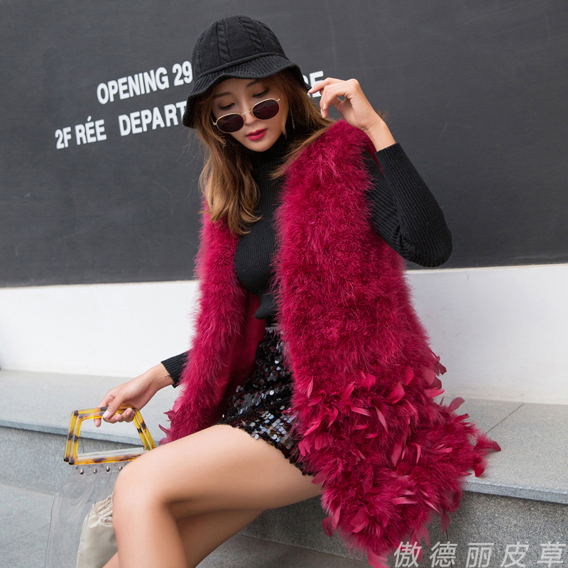 Women Spring Autumn Winter Real Turkey Feather Vest Ostrich Feather Waistcoat Medium Long V-neck Female