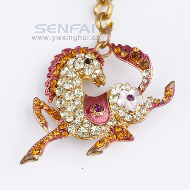 Novelty 3D Horse Keychain Creative Rhinestone Animal Key Ring, Fashion Car Keychian, Innovative Chaveiro Trinket