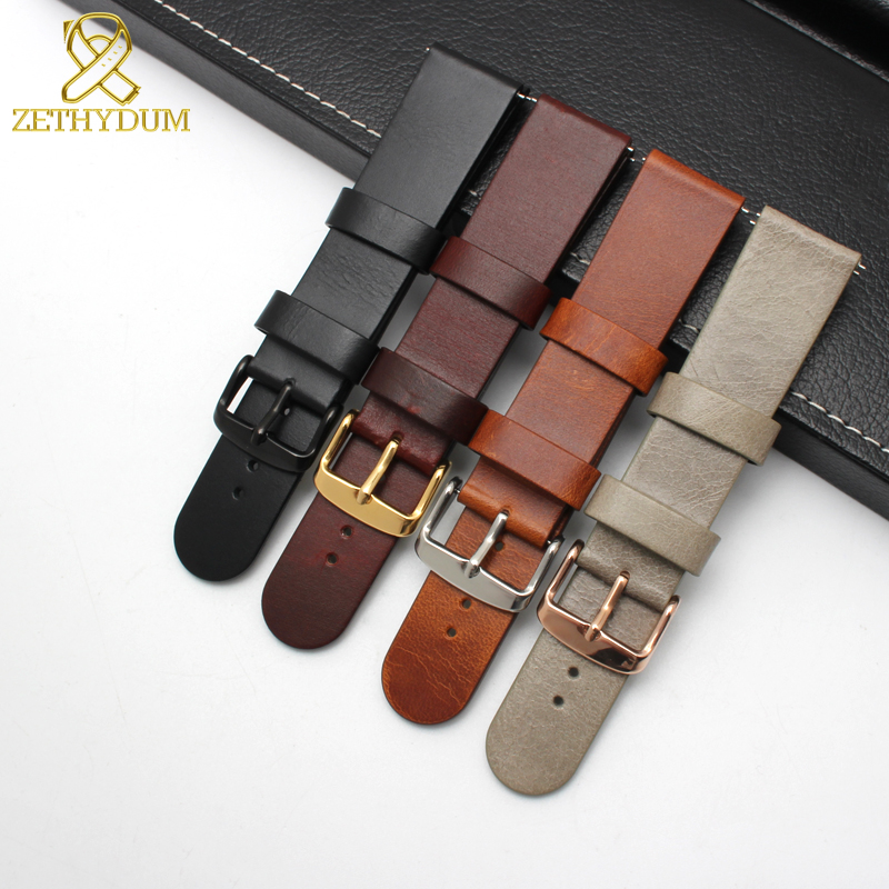 Minimalist Style Genuine Leather Watch Strap 18mm 20 22mm Watchband Quick Release Bar Thin Double Head Layer Cowhide Watch Band