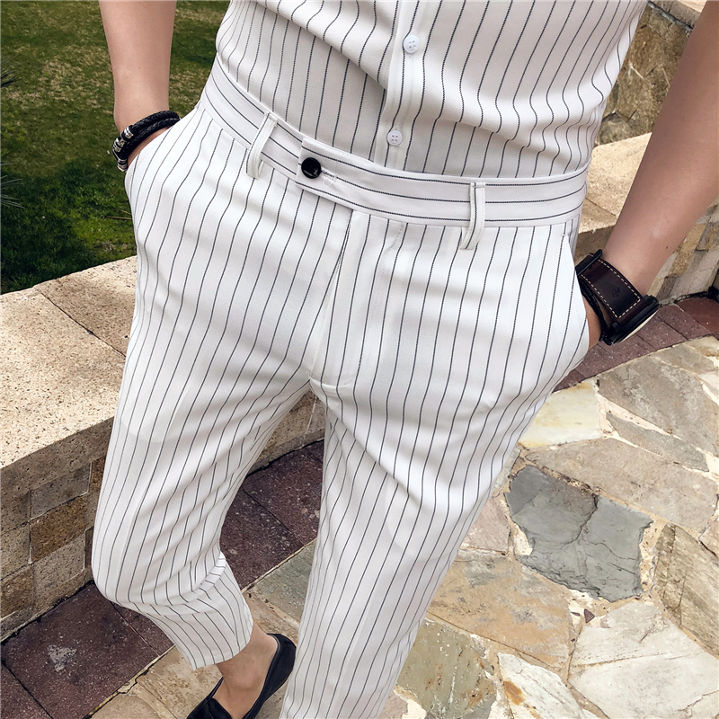 2018 Summer Stripe Men Dress Pants Black White Mens Pants Fashions Men Skinny Fit Men Trousers Office Ankle Length Trousers