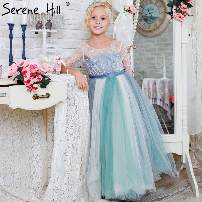 Waterfall Beading first Communion Dresses For Girls pageant Flower Girl  Dress Grey Green Half Sleeve 2019 77848f6dc676