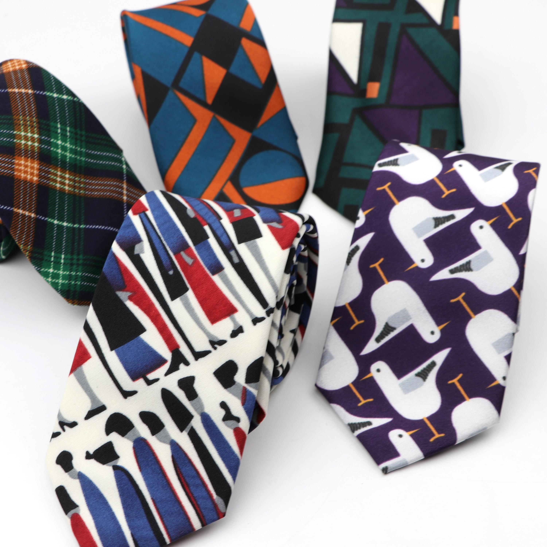 Chiffon 7cm Width Neckties Festival Polyester Tie Soft Designer Character Necktie Music Note Ties Striped