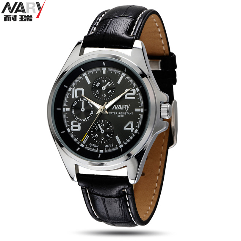 NEW NARY Clock Male Business PU Leather Vintage Watch Quartz Men's Watches 6050 Men wristwatches relogios femininos masculino xiniu retro wood grain leather quartz watch women men dress wristwatches unisex clock retro relogios femininos chriamas gift 01