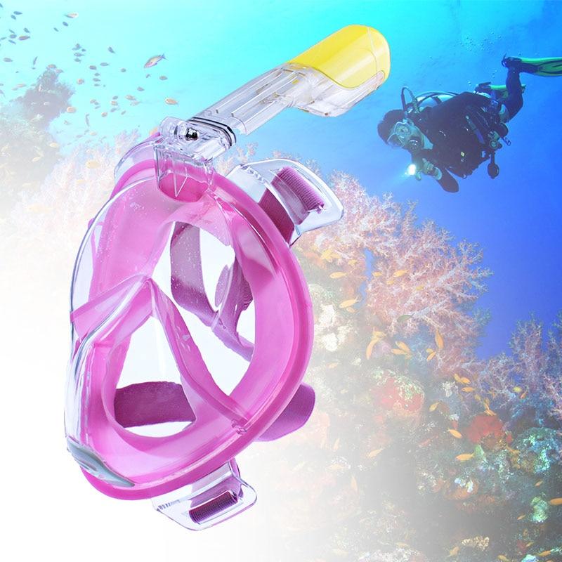 1 adet Tam Yüz Dalış Maskeleri Panoramik Görünüm Anti-sis Anti-Kaçak Yüzme Şnorkel Scuba Sualtı Dalış Maskesi GoPro Uyumlu