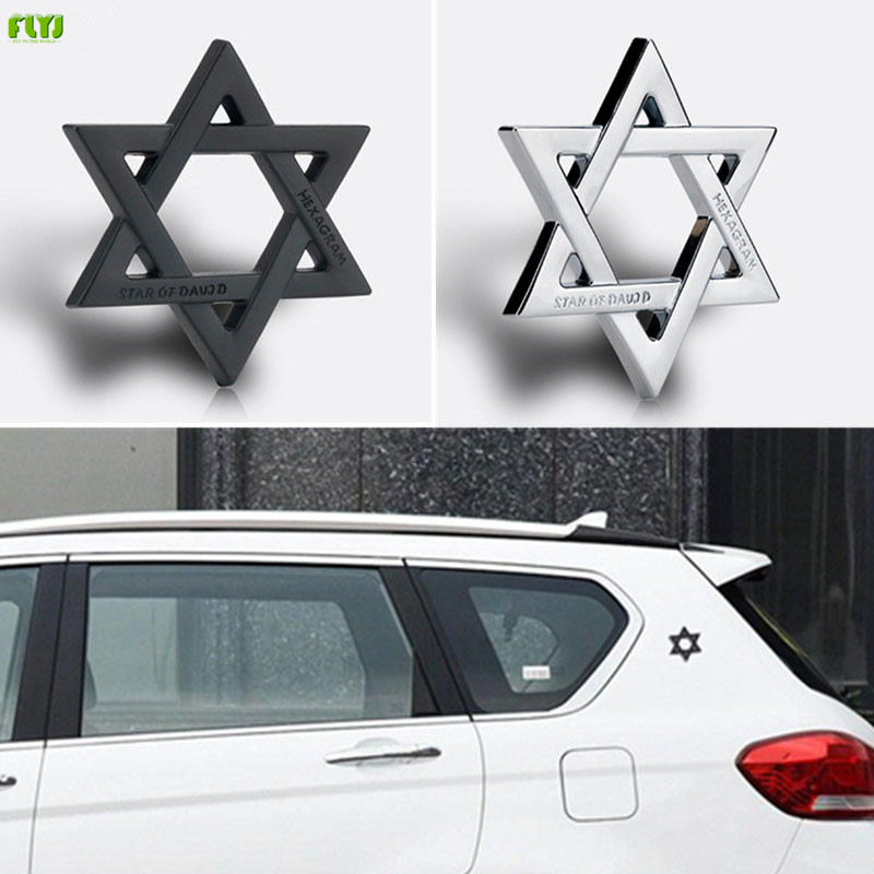 FLYJ 3D Metal Hexagram Star of David Car Stickers Car Styling Accessories for Israel Car Sticker-in Car Stickers from Automobiles & Motorcycles