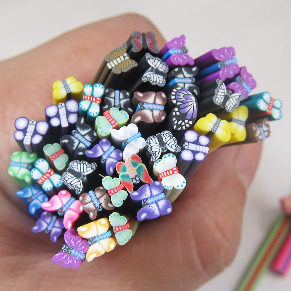 ▽Colorful 3d Butterfly Fimo Nail Art Canes New Arrival Cute Fashion ...