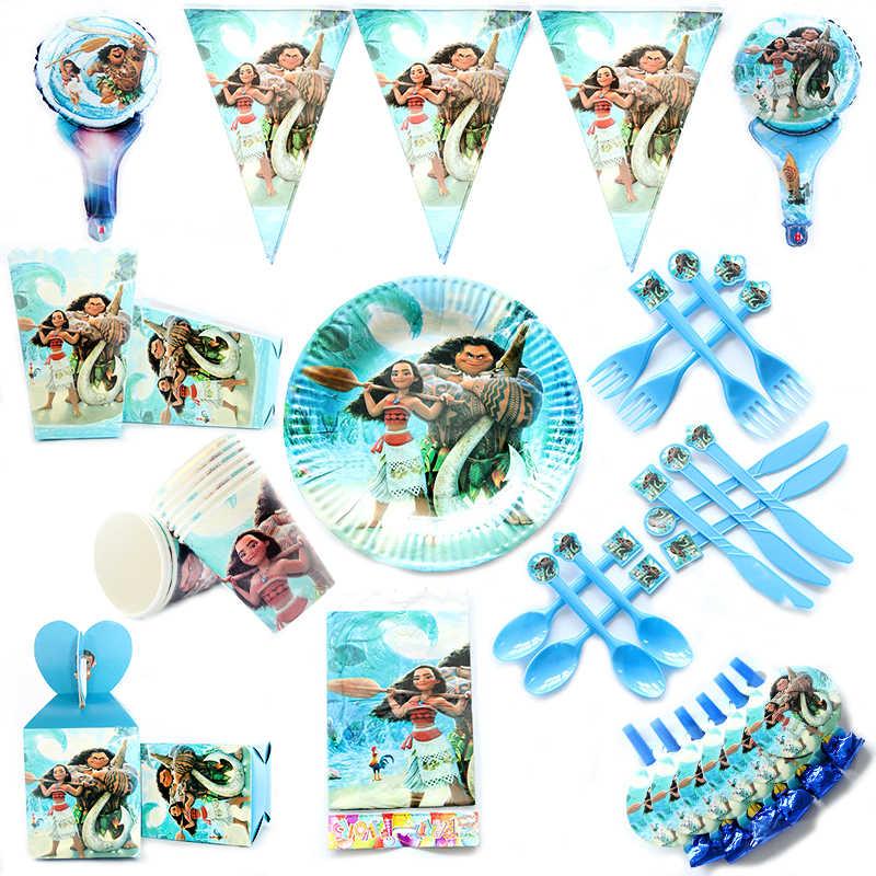 Hoạt hình Moana Tiệc Chủ Đề giấy/Tấm/Khăn Ăn/Hộp Kẹo/Lá Cờ/Pinata Mặt ống hút Khăn trải bàn Trẻ Em sinh nhật Trang Trí Vật Dụng