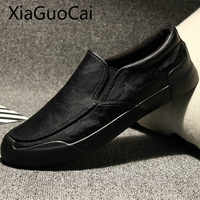 Genuine Leather Luxury Brand Mens Loafers Slip-on Leather Male Casual Sneakers Rubber Breathable Mens Flat Casual Shoes