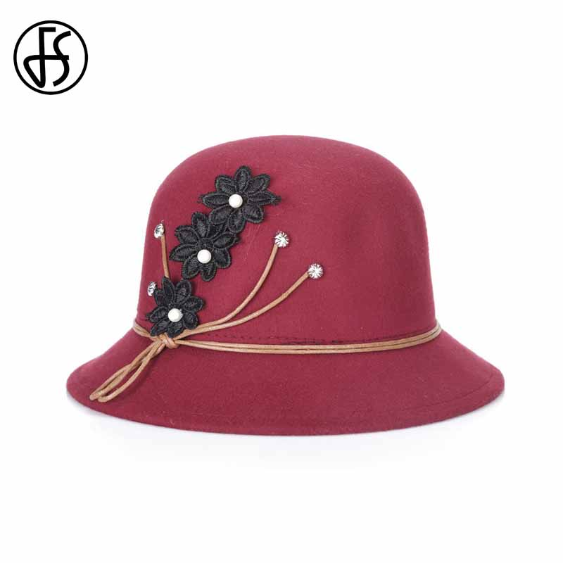 FS 2017 New Winter Bowler Top Hats Wide Brim Elegant Embroidery Flower Felt Bucket Fedora Hat For Women Red Casual Cloche Caps