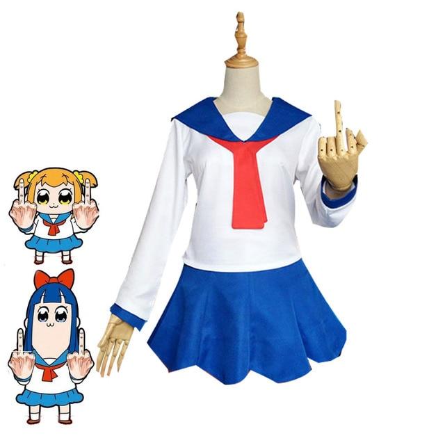 7fec26b565352 Anime POP TEAM EPIC Popuko Pipimi Cosplay Costume Girls Cute Sailor Dresses  Japanese School Uniforms Halloween Carnival Outfit