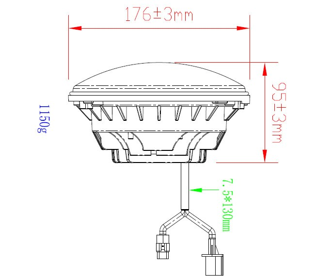 7 inches LED headlight dimensions