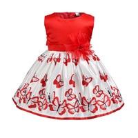 Summer children clothing baby girls clothes dress print flower sleeveless butterfly red dress for 1T 2T 3T 4T 5T 6T girl kids